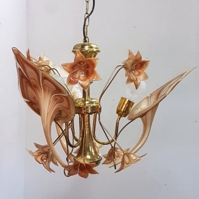 Italian murano glass flower & brass chandelier, Italy 1970s