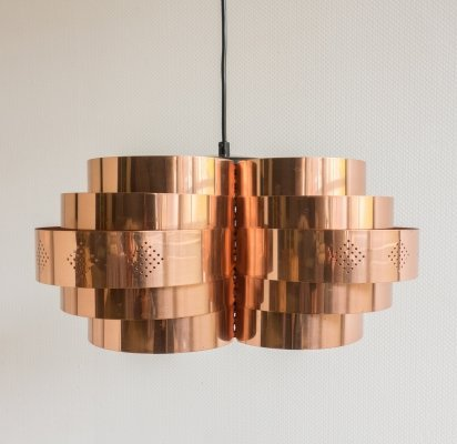 Copper pendant lamp by Werner Schou, 1960s