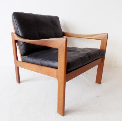 N. Eilersen Teak chair with black leather by Illum Wikkelso
