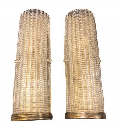 Set of Two Mid-Century Modern Brass & Glass Wall Sconces, circa 1970