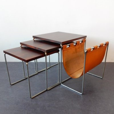 Mimi set of 3 nesting tables with magazine holder by Brabantia, The Netherlands