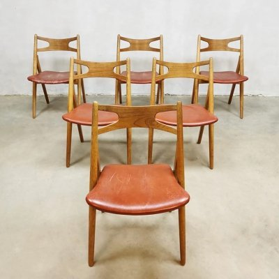 Set of 6 vintage design CH29 'sawbuck' dining chairs by Hans Wegner