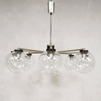 Vintage design glass 8 armed chandelier