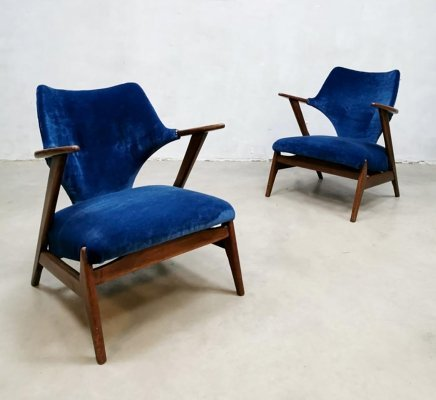 Set of 2 vintage Dutch design armchairs by Hulmefa