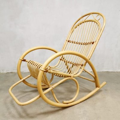 Vintage bamboo rocking chair by Rohe Noordwolde