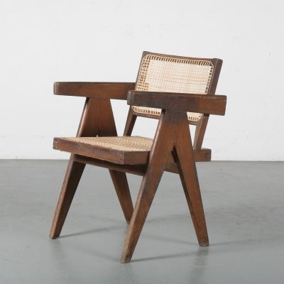 Pierre Jeanneret Office Cane Chair for Chandigarh, India 1950