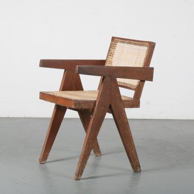 Pierre Jeanneret Cane Armchair for Chandigarh, India 1950