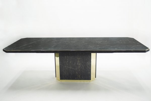 J.C. Mahey for Paco Rabanne black Portoro marble & brass dining table, 1979