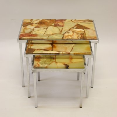 Vintage design green marble nesting tables / mimiset, 1960s