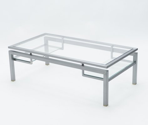 Mid-century Brushed steel & brass coffee table by Guy Lefevre for Maison Jansen, 1970s