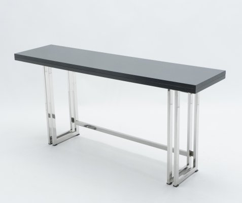 Italian Mid-century black lacquer & chrome extending console table, 1970s
