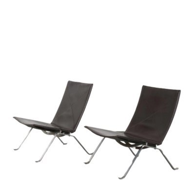 Pair of PK22 Lounge Chairs by Poul Kjaerholm for Fritz Hansen, Denmark 1960