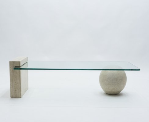 French Mid-Century Philippe Barbier travertine & glass coffee table, 1970s