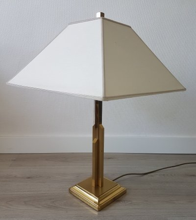 Large brass 'skyscraper' table lamp by Lustrerie Deknudt, 1970s