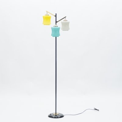 Mid-century Italian Vistosi brass & Murano glass floor lamp, 1950s