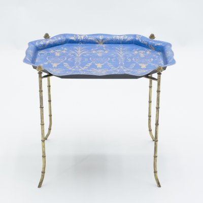 French Maison Baguès bronze blue tray table, 1960