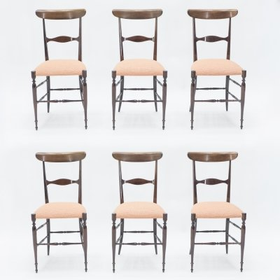 Rare set of 6 Campanino Chiavari walnut chairs by Fratelli Levaggi, 1950s