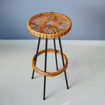 Bar Stool with Rattan Seat from Rohé Noordwolde, 1960s