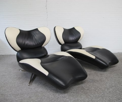 Two vintage TopForm Panda style lounge chairs, 1990s