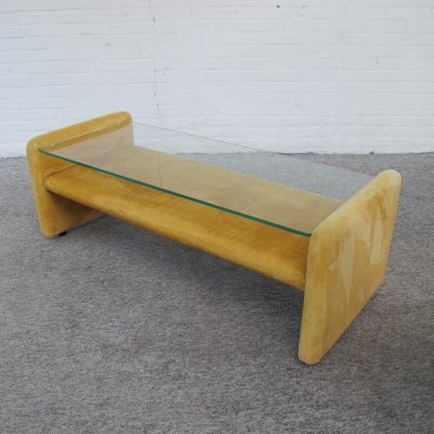 Vintage glass & fabric space age coffee table, 1970s