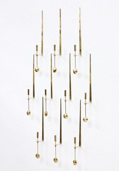 Set of 10 Wall Mounted 'Pendulum' Brass Candlesticks by Pierre Forssell