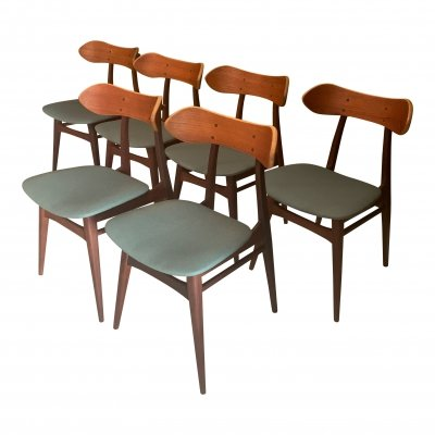 Set of 6 vintage 'Kastrup' dining room chairs by Louis van Teeffelen for Wébé