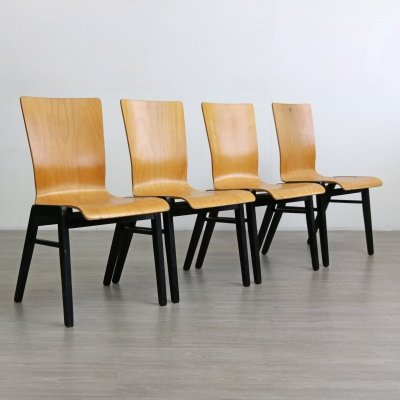 Set of 4 Mid Century Industrial Style Plywood Chairs, 1960s