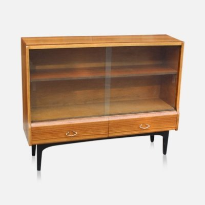 Vintage Scandinavian style bookcase with moveable shelf & glass doors