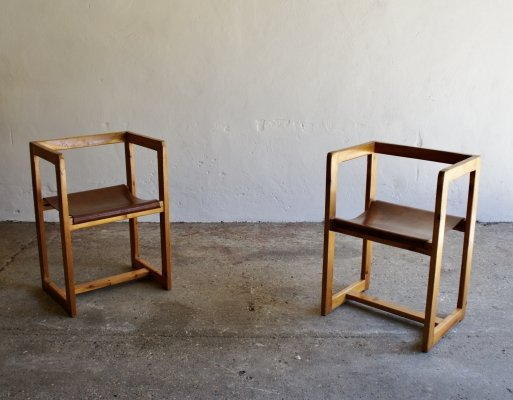 Modernist Pine And Leather Chairs, 1960s