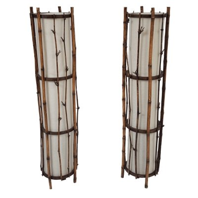 2x bamboo floor lamp