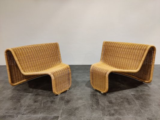 Vintage cane lounge chairs model P3a by Tito Agnoli, 1960s