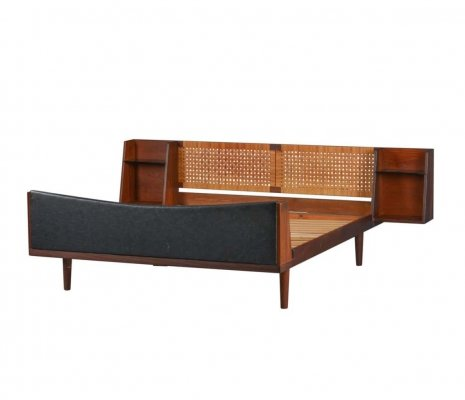 Danish Midcentury Teak double bed with Cane headboard by Hans Wegner