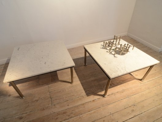 Pair of marble low tables, 1970s
