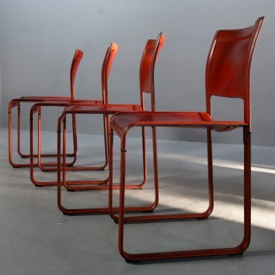 Set of 4 reddish leather Sistina Strap Chairs by Tito Agnoli for Matteo Grassi, 1980s