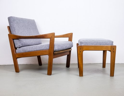 Teak Lounge Chair & Ottoman by Illum Wikkelsø for Niels Eilersen, 1950s