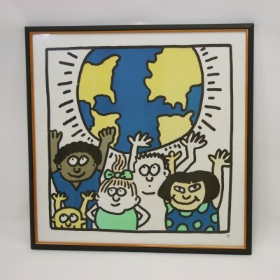 Silkscreen of Keith Haring 'Kids of the World', 1985