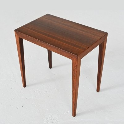 Severin Hansen rosewood side table by Haslev Mobelsnedskeri, Denmark 1960