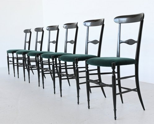 Colombo Sanguineti Campanino chairs by Chiavari Italy, 1950