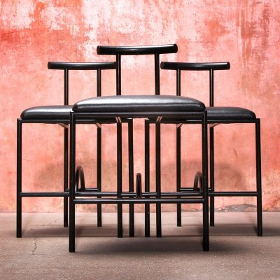 Set of 3 Black Tokyo Dining Chairs by Rodney Kinsman for Bieffeplast