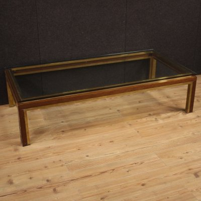 20th Century Metal, Burl, Brass & Glass Italian Design Coffee Table