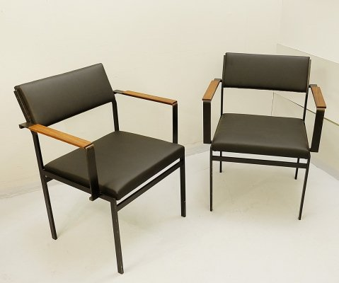 Pair of Faux-Leather FM17 Japanese Series Chairs by Cees Braakman for Pastoe, 1950s