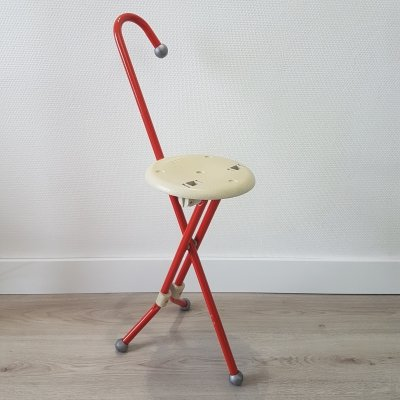 Ulisse folding stool & walking stick by Ivan Loss for Sandrigarden, 1980s