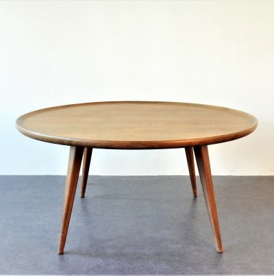 Round teak coffee table with edge, 1960s