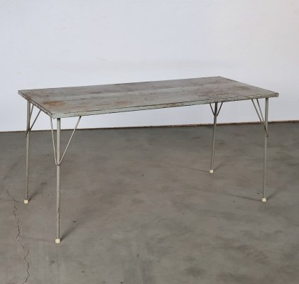 Very rare fully metal & larger table by Wim Rietveld