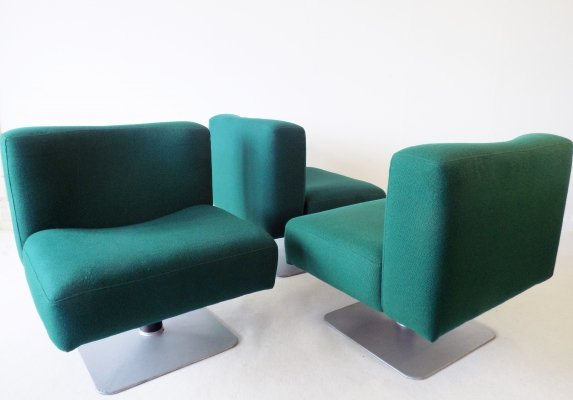 Set of 3 Mauser System 350 petrol lounge chairs by Herbert Hirche, 1970s