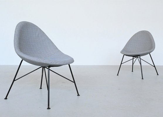 Miroslav Navratil Egg Fireside chairs, Czech Republic 1950s