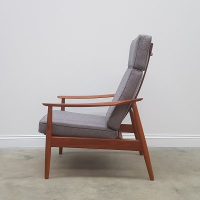 High Back Teak Recliner chair Model FD - 164 by Arne Vodder for France & Søn