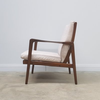 1960's Danish Easy Chair in Creme Upholstery
