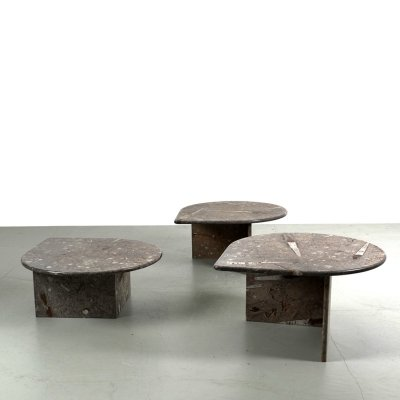 Set of 3 tables made of natural stone with fossils, 1970s