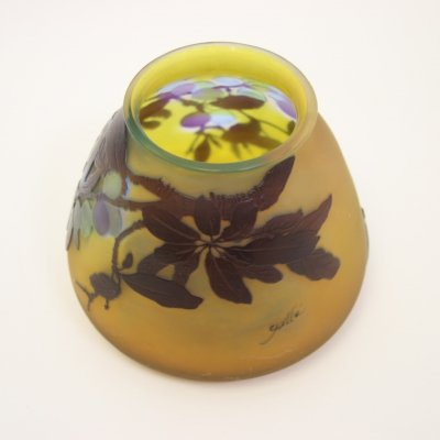 Art Nouveau Yellow Vase Signed by Emile Gallé, France 1920